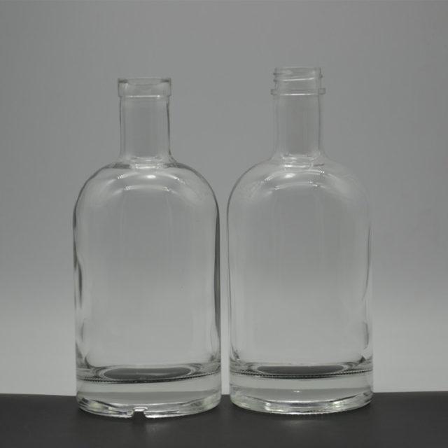 Round Clear Liquor Bottle