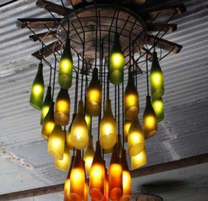 glass bottle recycling idea-glass chandelier