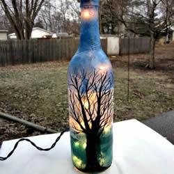 glass bottle recycling idea-glass light