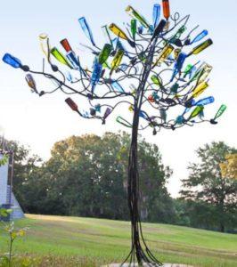 glass bottle recycling idea-bottle tree